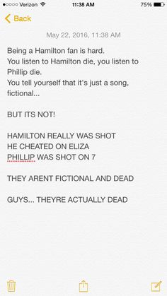Well, the Philip thing is false. In history, they both didn't shoot. They just looked at each other for a while, waiting for one to shoot. Eacker was the first to shoot, as we know, but he didn't shoot him on seven. He actually waited.