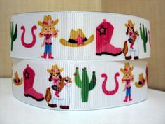 3 yards 1 Cowgirl People Grosgrain Ribbon by Ribbonology on Etsy, $5.00