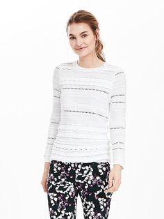 Scallop-Stripe Pullover Sweater