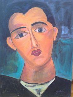 Portrét+muže+Olejomalba+na+sololitu,+40+x+30+cm,+inspirováno+kubismem.+Barvy:+tělová,+modrá,+černá,+červená,+bílá.+Signovaný+originál.