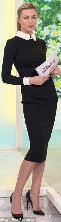 9-5 black dress white collar work style clothes fashion street
