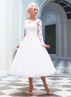A-Line/Principessa Tondo Lunghezza tè Tyll Abito per matrimonio con Di Appliques Pizzo
