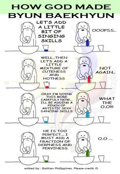 When God made Baekhyun. This one is funny as well :D Chanyeol Baekhyun, Exo K, Park Chanyeol, K Pop, L Icon, Kim Minseok, Baekyeol, Xiuchen, Exo Ot12