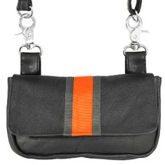 Womens Rally Racing Orange Stripe Leather Motorcycle Belt Bag limited number avail get your today www.SouthernLeathers.com