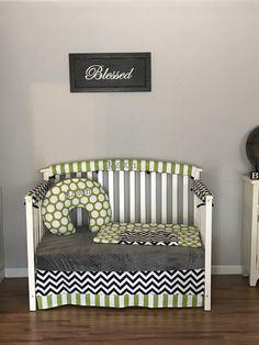 Items similar to Black & White Chevron, Lime green polka dots stripes crib bedding Set gray Minky Dots and FREE Monograms diaper stacker and boppy cover on Etsy