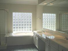 glass block in bathroom