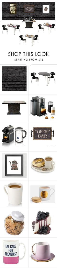 """""""Coffee bar"""" by stylev ❤ liked on Polyvore featuring interior, interiors, interior design, home, home decor, interior decorating, Nespresso, OXO, Kate Spade and Rosanna"""