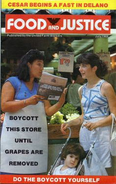 The United Farm Workers (UFW) published the monthly magazine Food and Justice to keep its members and other interested parties up to date with issues important to the Farm Workers movement. The July 1988 issue (Volume 5, Number 5) featured a story on supermarket boycotts and an article about Cesar Chavez's latest fast, which began on July 16, 1988. Millie Moser Smith Papers.