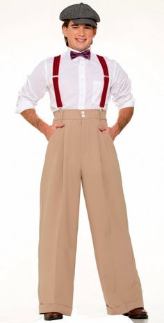 Roaring 20's Deluxe Men's Costume Pants - Candy Apple Costumes - Plus Size 20's Costumes