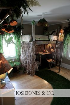 my son likes the loft idea, just not the jungle theme maybe surfer ...