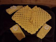 Yellow Crotchet Girls Poncho Set by familycraftstore on Etsy