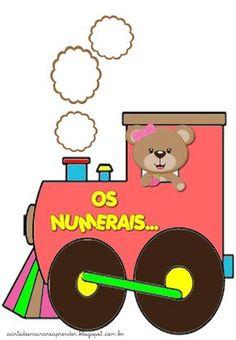 Estou apaixonada por este trenzinho dos numerais do 1 ao 30.   Vai ficar lindo na parede da sala!                                       ... Sweet Birthday Cake, Math 2, Cartoon Background, Math For Kids, Board Games, Safari, Cross Stitch, Clip Art, Classroom