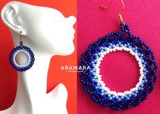 Mexicana Huichol con cuentas azul y blanco lazo aretes por Aramara