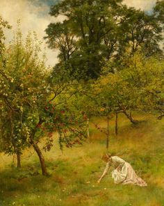 John Collier (English, 1850-1934). A Devonshire Orchard. 1896. Oil on canvas.