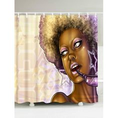 African Style Waterproof Fabric Shower Curtain - W71 INCH*L71 INCH W71 INCH*L71 INCH