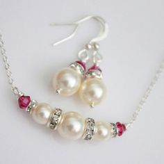Swarovski Ivory Pearl and Fuschia Necklace and Earring Set, Bridesmaid Jewelry, Bridesmaid Gift on Etsy, $18.00