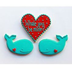 Best of Etsy: 20 Handmade Gifts for Valentine's Day via Brit + Co. My Funny Valentine, Valentines Gift Box, Valentines Day Cookies, Valentine Heart, Valentine Ideas, Valentine Stuff, Whale Cookies, Heart Cookies, Cute Cookies