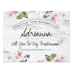#white - #Rustic Vintage Floral Wood Bridesmaid Card