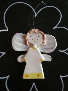 Angel Ceramic Angel Ornament Guardian Angel by TatjanaCeramics, $7.00