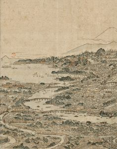 "Left half. 1803 Japanese map of Tokyo. ""Panoramic view of the noted places of Edo."""