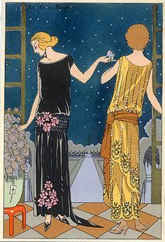 Jeanne Lanvin, Birra 1923 Abito da sera, Fashion Illustration, Pochoir