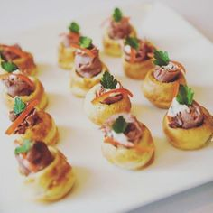 Roast beef vol au vent, blue cheese for cold and rainy day? #cheekybites #sydney…