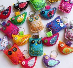 Felt & Embroidery Owl & Bird Plush Keychains by lovahandmade on Etsy