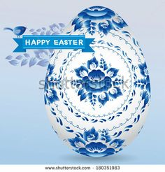 Vintage card with egg gzhel blue floral ornament, ribbon chick. Happy Easter.  by EkaterinaP, via Shutterstock