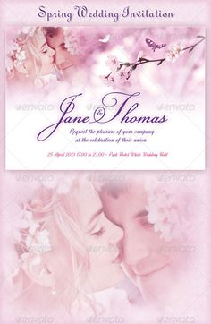 Spring Wedding Invitation — Photoshop PSD #blossoms #spring • Available here → https://graphicriver.net/item/spring-wedding-invitation/4207907?ref=pxcr