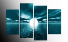 """LARGE TEAL SEASCAPE SUNSET CANVAS PICTURES WALL ART SPLIT MULTI 4 PANEL 40"""""""