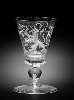 A Dutch diamond-point engraved façon de Venise goblet, possibly by Willem Mooleyser, circa 1683