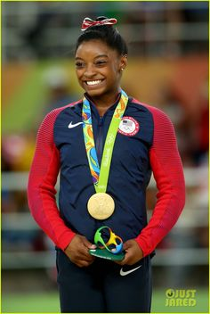 American gymnast Simone Biles wins first ever Olympic GOLD medal in women's Vault. via USATODAY · http://usat.ly/2bviKa9 8/14/16