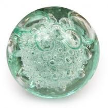 PotteryVille Aqua - Light Sea Green Glass Round Knob with Air Bubbles
