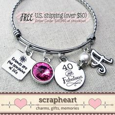 40th BIRTHDAY Gift for Her - Best Friend Gift, Milestone Birthday Bracelet, by ScrapheartGifts
