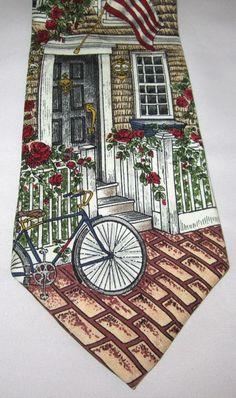 Neck Tie Cottage Scene Bicycle Flag Americana Collection MAX RAAB 100% Silk #TangoMaxRaab #NeckTie