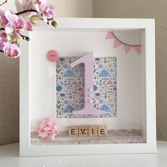 Little Girls first Birthday Gift, Personalised Age Box Picture Frame, First Birthday present, box frame, girls bedroom decoration, customised frame, 1st Birthday, pretty box frame. Evie GlitterSparkles on Etsy. For More gift ideas check out our Etsy shop https://www.etsy.com/uk/shop/EvieGlitterSparkles