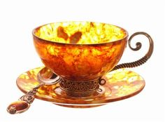 Coffee cups made from natural amber, each cup made by hand, framing amber and silver for strength in quality. Silver and amber, have excellent natural antibacterial properties.
