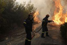 Bomberos tratan de extinguir un incendio en Penteli, al norte de Atenas (Grecia). Costa, Bradley Mountain, Control, Athens Greece, Santo Domingo, Death, Europe