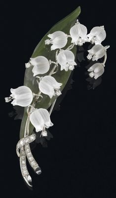 Lily of the valley flower brooch