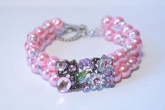 Check out this item in my Etsy shop https://www.etsy.com/listing/216374837/pink-glass-pearl-bracelet-bride-bracelet