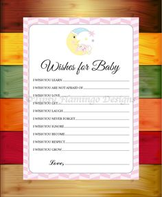 Baby Shower Game, Wishes For Baby, Shower Game, Baby Bunny, Sleepy Moon, Pink and White, Printable, Instant Download - TFD552 by TipsyFlamingoDesigns on Etsy