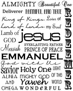 Names of Jesus Christ Subway Art - nice black & white - add any color to match holiday (Christmas & Resurrection Day) or decor - nice variety of fonts - by Project Inspire