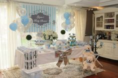 Blue and Gray Striped Baby Boy Baby Shower Printable Party Package