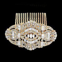 Stunning Gold Art Deco Wedding Hair Comb - Affordable Elegance Bridal -