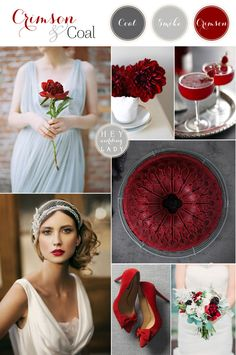 Crimson and Coal – Glam Red and Gray Winter Wedding. What a striking…