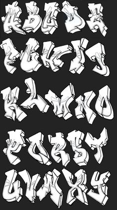 Graffiti alphabets with a cool style. Examples of good graffiti alphabet A-Z to create graffiti art. Graffiti Letters Styles, Graffiti Lettering Alphabet, Tattoo Lettering Fonts, Graffiti Font, Graffiti Tagging, Graffiti Drawing, Grafitti Letters, How To Draw Graffiti, Typography