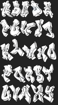 Graffiti 3D Alphabet A-Z | Montgomery Blais Graffiti Alphabet Letters