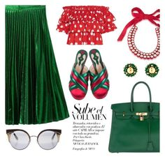 """christmas before christmas"" by pensivepeacock ❤ liked on Polyvore featuring Nico, WithChic, 1st & Gorgeous by Carolee, Hermès, Gucci, Caroline Constas and Jimmy Choo"