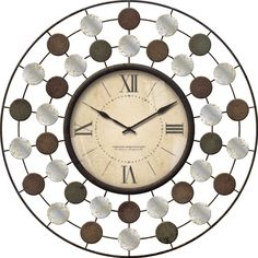 Features:  -Requires 1 AA battery (Not included).  Product Type: -Analog.  Finish: -Brown/Sage.  Shape: -Round.  Style: -Contemporary.  Primary Material: -Metal.  Numbered Clock: -Yes.  Gender: -Neutr