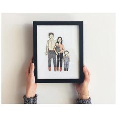 FRAMED Paper Doll Portrait by JordanGraceOwens, based in the US and selling on Etsy Fun Family Portraits, Ribba Frame, Banner, Illustrations, Paper Dolls, Special Gifts, Wedding Gifts, Wedding Invitations, Etsy Shop